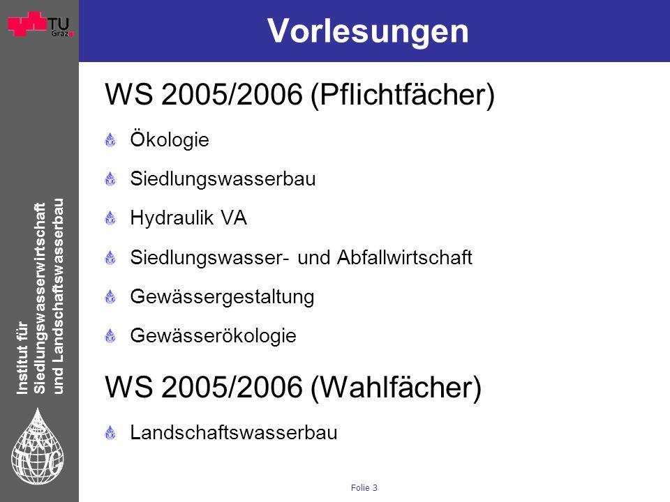 Institut für Siedlungswasserwirtschaft und Landschaftswasserbau Folie 3 Vorlesungen WS 2005/2006 (Pflichtfächer) Ökologie Siedlungswasserbau Hydraulik