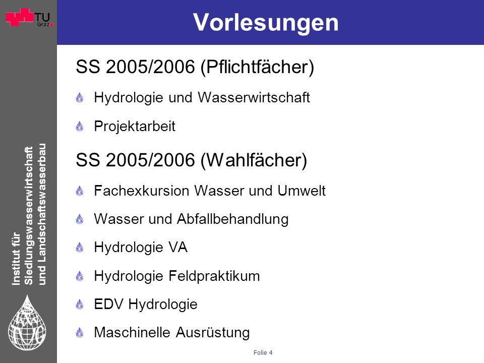 Institut für Siedlungswasserwirtschaft und Landschaftswasserbau Folie 4 Vorlesungen SS 2005/2006 (Pflichtfächer) Hydrologie und Wasserwirtschaft Proje