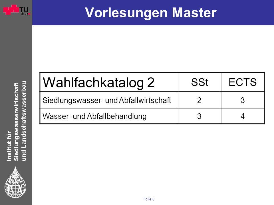 Institut für Siedlungswasserwirtschaft und Landschaftswasserbau Folie 6 Vorlesungen Master Wahlfachkatalog 2 SStECTS Siedlungswasser- und Abfallwirtsc