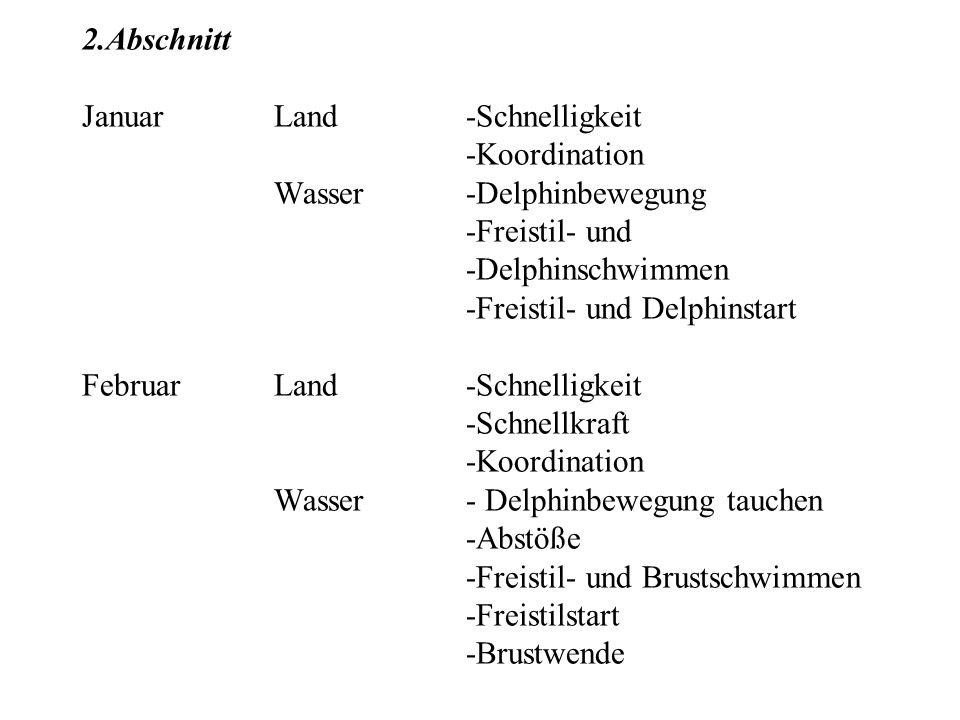 2.Abschnitt JanuarLand-Schnelligkeit -Koordination Wasser-Delphinbewegung -Freistil- und -Delphinschwimmen -Freistil- und Delphinstart FebruarLand-Sch