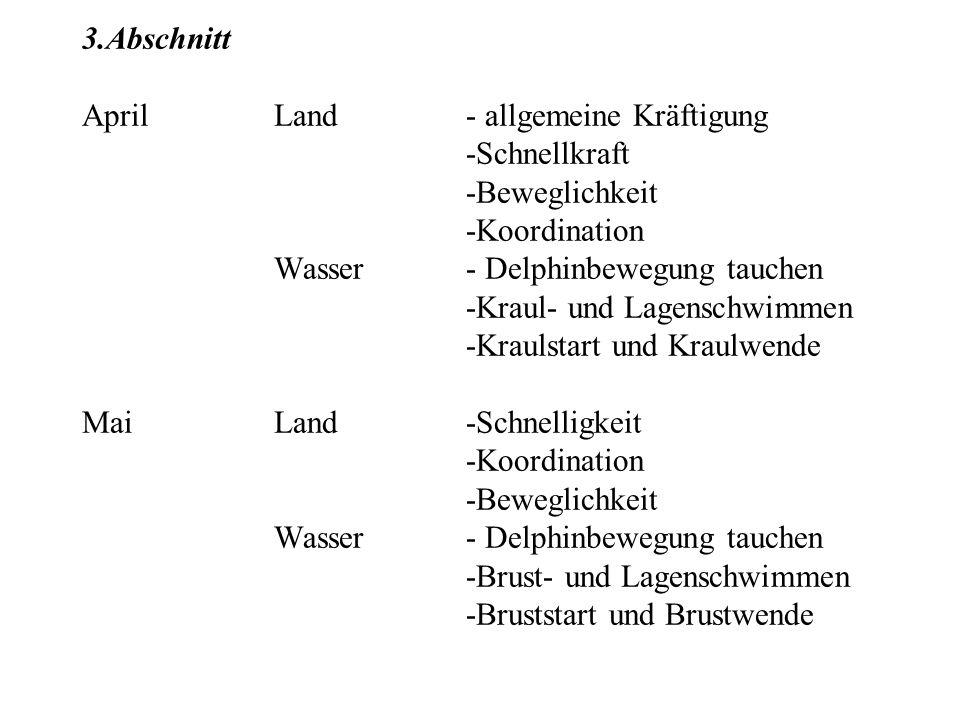 3.Abschnitt AprilLand- allgemeine Kräftigung -Schnellkraft -Beweglichkeit -Koordination Wasser- Delphinbewegung tauchen -Kraul- und Lagenschwimmen -Kr
