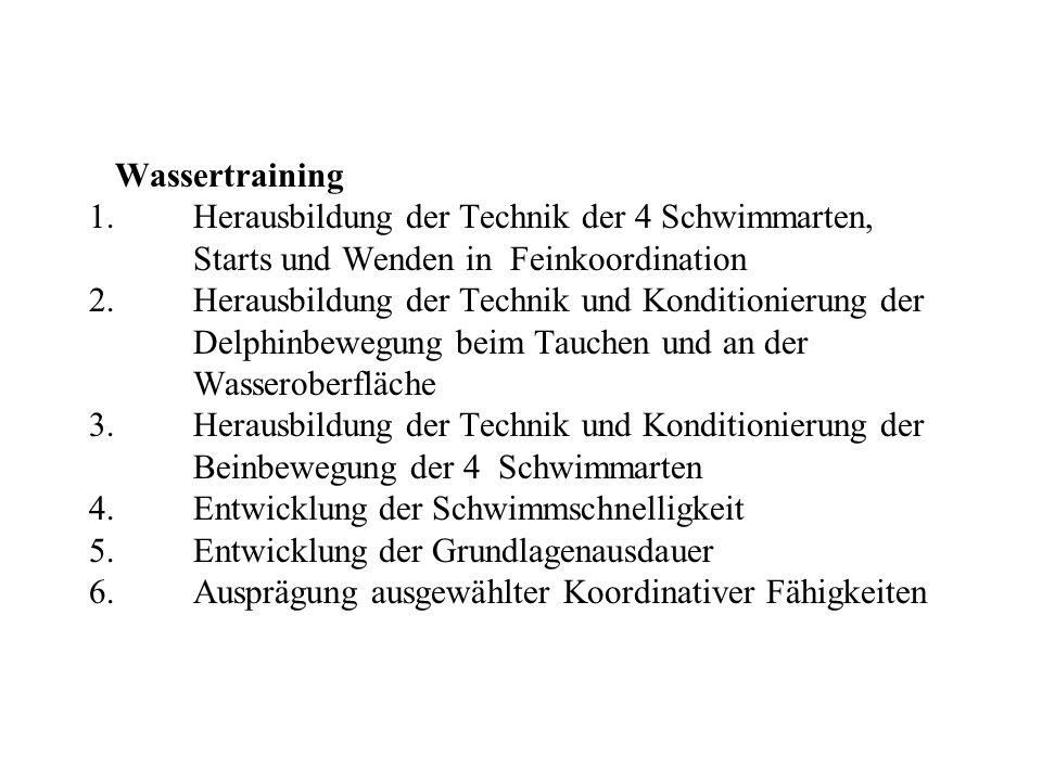 Wassertraining 1.Herausbildung der Technik der 4 Schwimmarten, Starts und Wenden in Feinkoordination 2. Herausbildung der Technik und Konditionierung