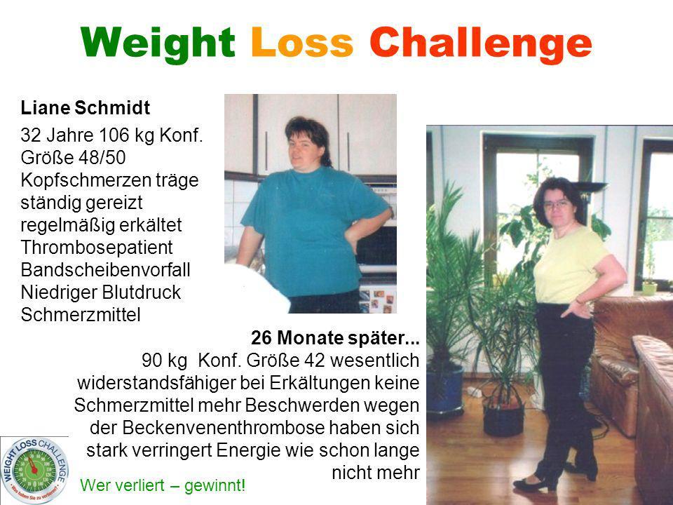 Wer verliert – gewinnt! Weight Loss Challenge Liane Schmidt 32 Jahre 106 kg Konf. Größe 48/50 Kopfschmerzen träge ständig gereizt regelmäßig erkältet