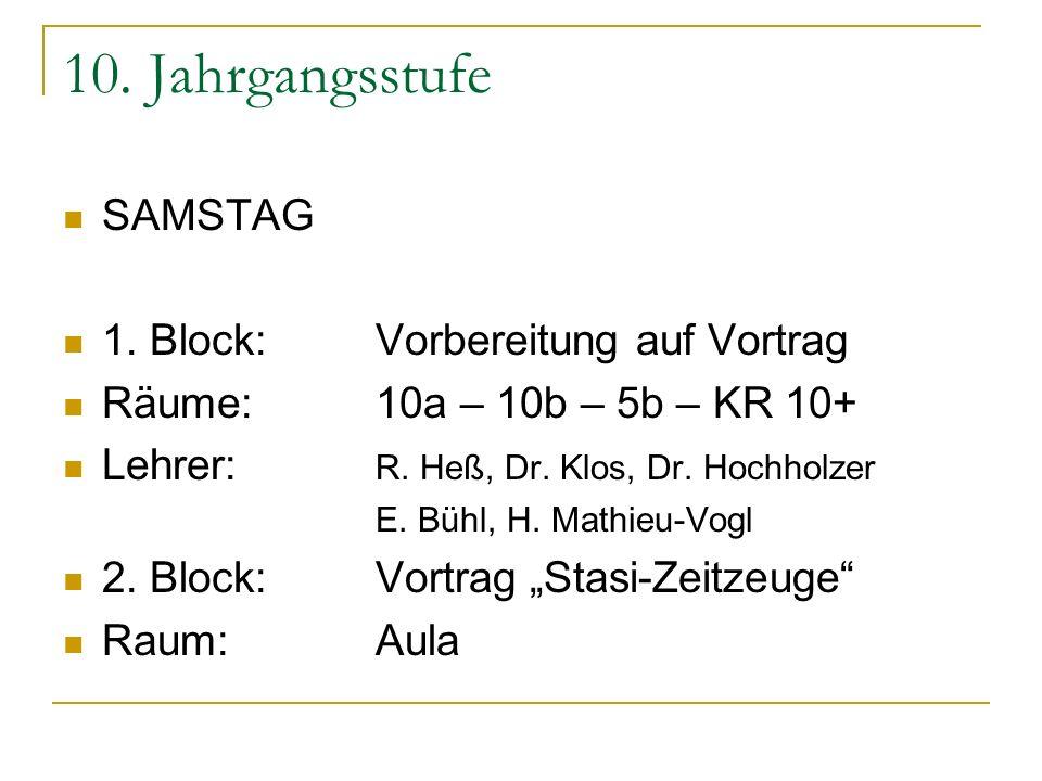 10. Jahrgangsstufe SAMSTAG 1. Block:Vorbereitung auf Vortrag Räume:10a – 10b – 5b – KR 10+ Lehrer: R. Heß, Dr. Klos, Dr. Hochholzer E. Bühl, H. Mathie
