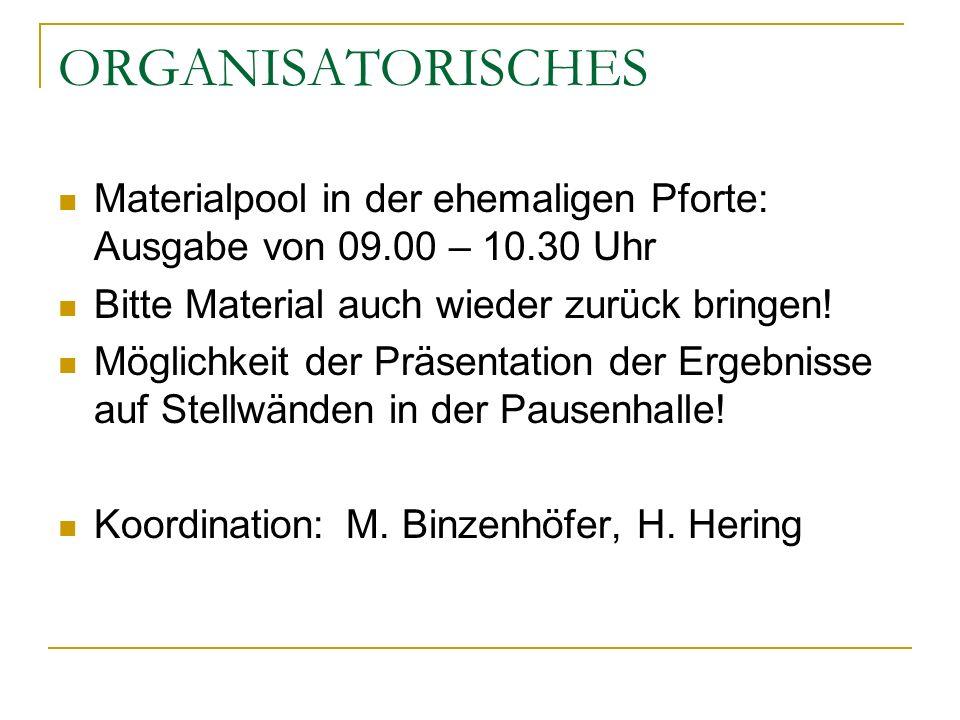 ORGANISATORISCHES Materialpool in der ehemaligen Pforte: Ausgabe von 09.00 – 10.30 Uhr Bitte Material auch wieder zurück bringen! Möglichkeit der Präs