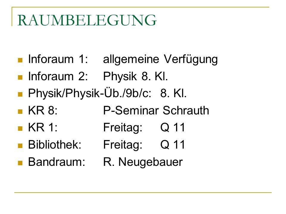 RAUMBELEGUNG Inforaum 1:allgemeine Verfügung Inforaum 2:Physik 8. Kl. Physik/Physik-Üb./9b/c:8. Kl. KR 8:P-Seminar Schrauth KR 1:Freitag:Q 11 Biblioth