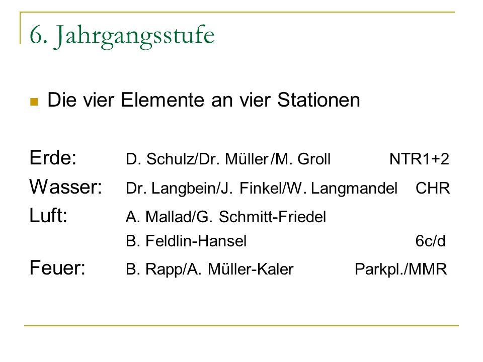 6. Jahrgangsstufe Die vier Elemente an vier Stationen Erde: D. Schulz/Dr. Müller/M. Groll NTR1+2 Wasser: Dr. Langbein/J. Finkel/W. LangmandelCHR Luft: