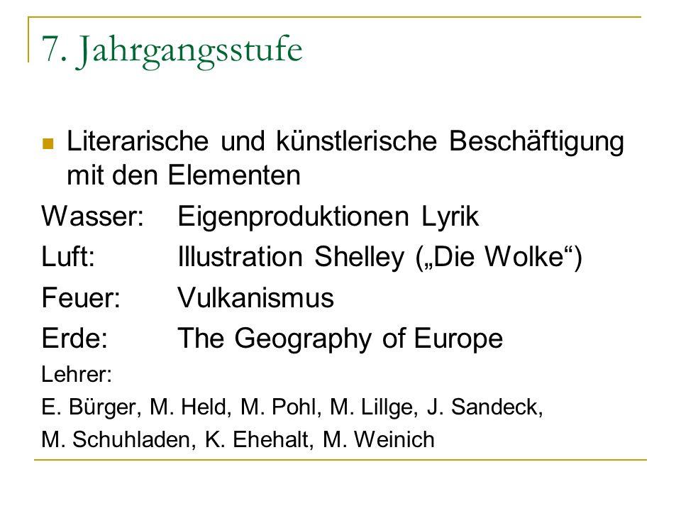 7. Jahrgangsstufe Literarische und künstlerische Beschäftigung mit den Elementen Wasser:Eigenproduktionen Lyrik Luft:Illustration Shelley (Die Wolke)