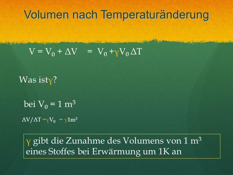 Volumen nach Temperaturänderung V = V 0 + ΔV = V 0 +γV 0 ΔT Was istγ? bei V 0 = 1 m 3 ΔV/ΔT =γV 0 = γ1m 3 γ gibt die Zunahme des Volumens von 1 m 3 ei