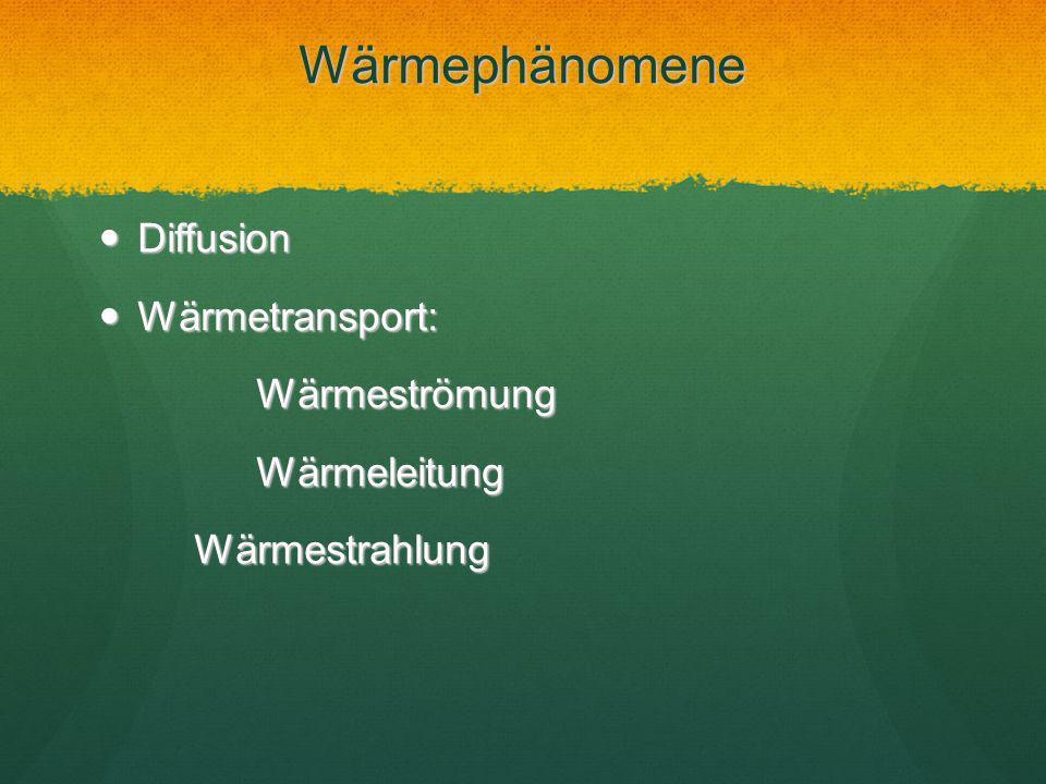 Wärmephänomene Diffusion Diffusion Wärmetransport: Wärmetransport: Wärmeströmung Wärmeströmung Wärmeleitung Wärmeleitung Wärmestrahlung Wärmestrahlung