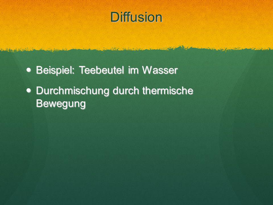 Diffusion Beispiel: Teebeutel im Wasser Beispiel: Teebeutel im Wasser Durchmischung durch thermische Bewegung Durchmischung durch thermische Bewegung