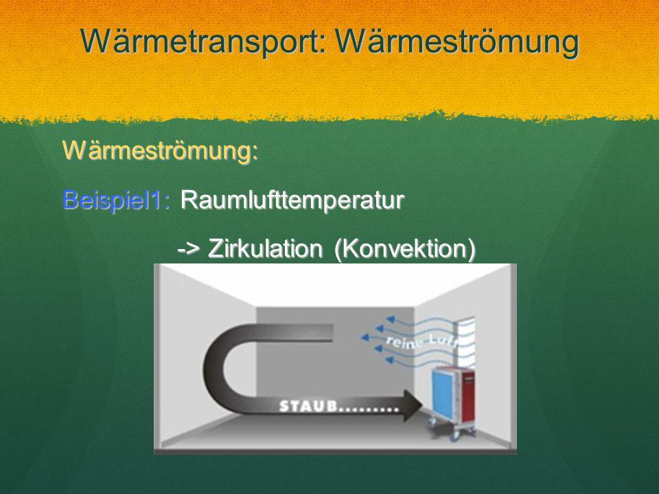 Wärmetransport: Wärmeströmung Wärmeströmung: Beispiel1: Raumlufttemperatur -> Zirkulation (Konvektion) -> Zirkulation (Konvektion)