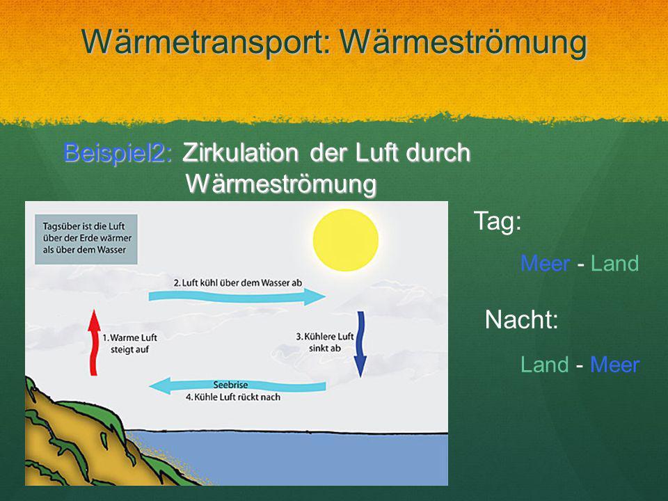 Wärmetransport: Wärmeströmung Beispiel2: Zirkulation der Luft durch Wärmeströmung Tag: Meer - Land Nacht: Land - Meer