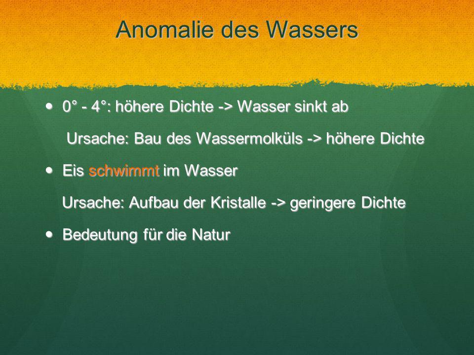 Anomalie des Wassers 0° - 4°: höhere Dichte -> Wasser sinkt ab 0° - 4°: höhere Dichte -> Wasser sinkt ab Ursache: Bau des Wassermolküls -> höhere Dich