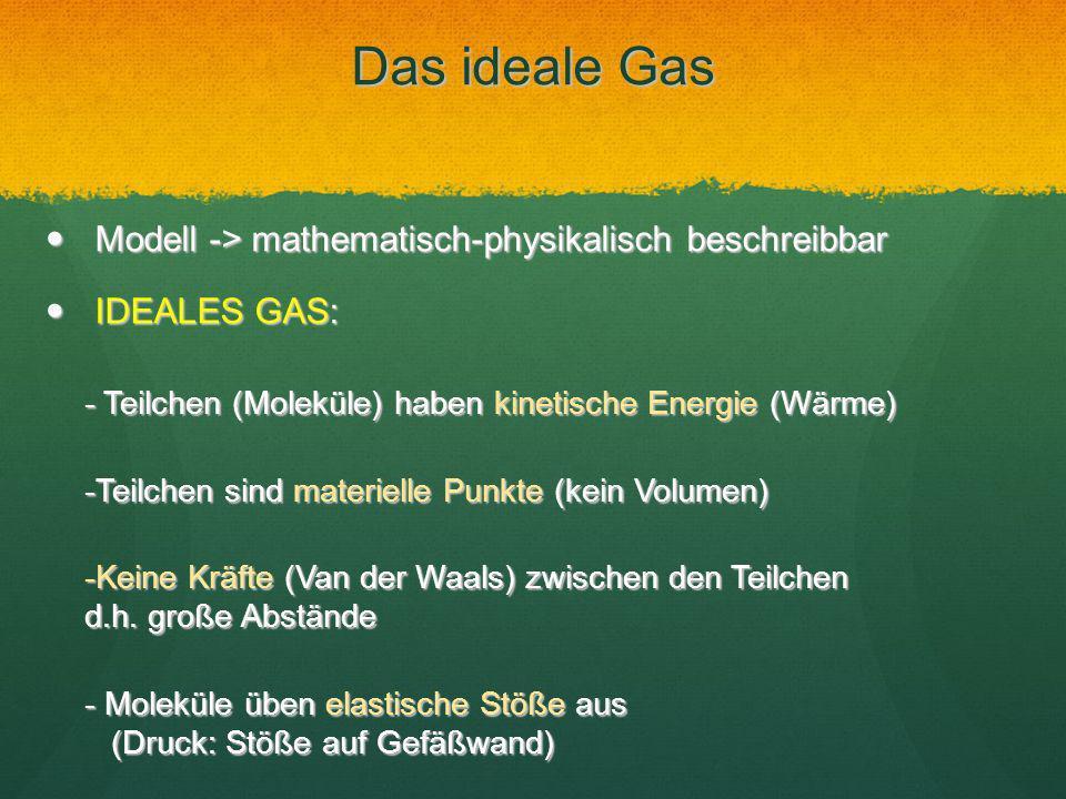 Das ideale Gas Modell -> mathematisch-physikalisch beschreibbar Modell -> mathematisch-physikalisch beschreibbar IDEALES GAS: IDEALES GAS: - Teilchen