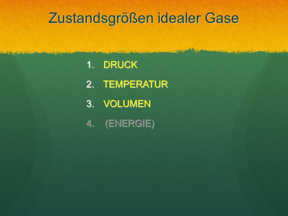 Zustandsgrößen idealer Gase 1. DRUCK 2. TEMPERATUR 3. VOLUMEN 4. (ENERGIE)