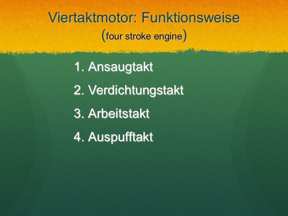 Viertaktmotor: Funktionsweise ( four stroke engine ) 1.Ansaugtakt 2.Verdichtungstakt 3.Arbeitstakt 4.Auspufftakt