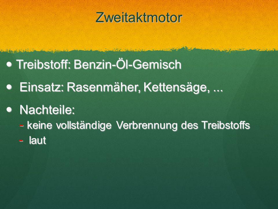 Zweitaktmotor Treibstoff: Benzin-Öl-Gemisch Treibstoff: Benzin-Öl-Gemisch Einsatz: Rasenmäher, Kettensäge,... Einsatz: Rasenmäher, Kettensäge,... Nach