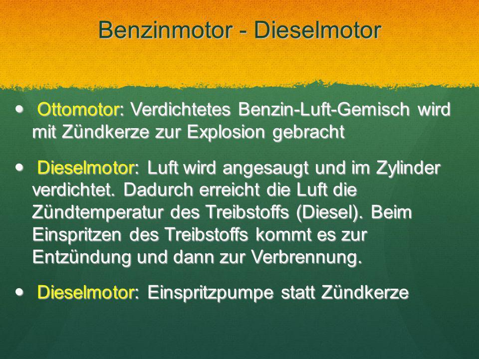 Benzinmotor - Dieselmotor Ottomotor: Verdichtetes Benzin-Luft-Gemisch wird mit Zündkerze zur Explosion gebracht Ottomotor: Verdichtetes Benzin-Luft-Ge