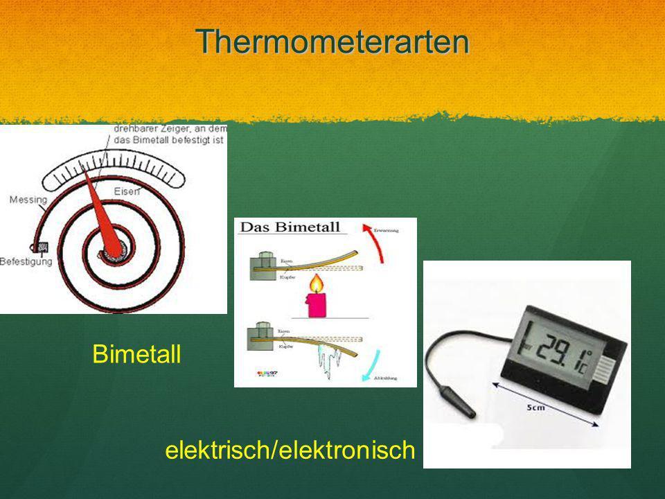 Thermometerarten Bimetall elektrisch/elektronisch