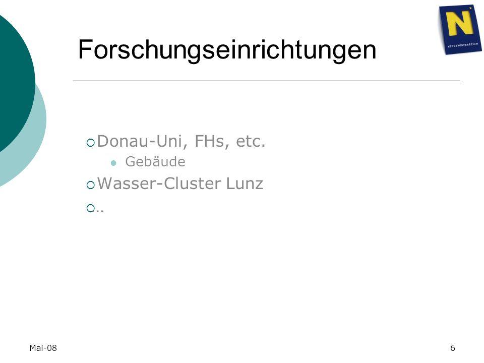 Mai-086 Forschungseinrichtungen Donau-Uni, FHs, etc. Gebäude Wasser-Cluster Lunz …