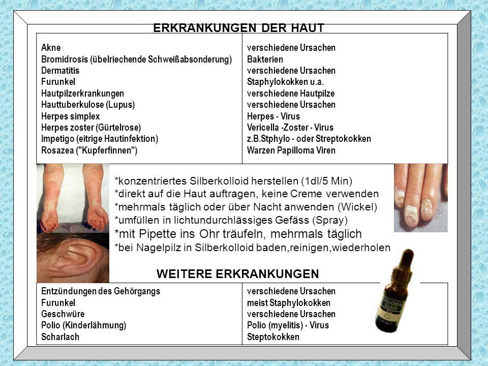 ERKRANKUNGEN DER HAUT Akne Bromidrosis (übelriechende Schweißabsonderung) Dermatitis Furunkel Hautpilzerkrankungen Hauttuberkulose (Lupus) Herpes simp