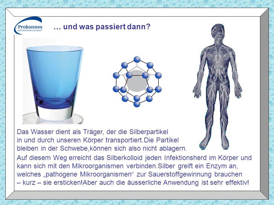 Das Wasser dient als Träger, der die Silberpartikel in und durch unseren Körper transportiert.Die Partikel bleiben in der Schwebe,können sich also nic