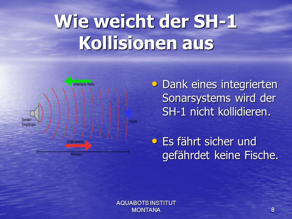 AQUABOTS INSTITUT MONTANA9 Wie funktioniert der SH-1 Solarzellen Kohlenfilter Shungite-Oberfläche Wasserdüse Sedimentsbecken Sonar He Hauptcomputer Grobfilter Ventil Kohle Batterien