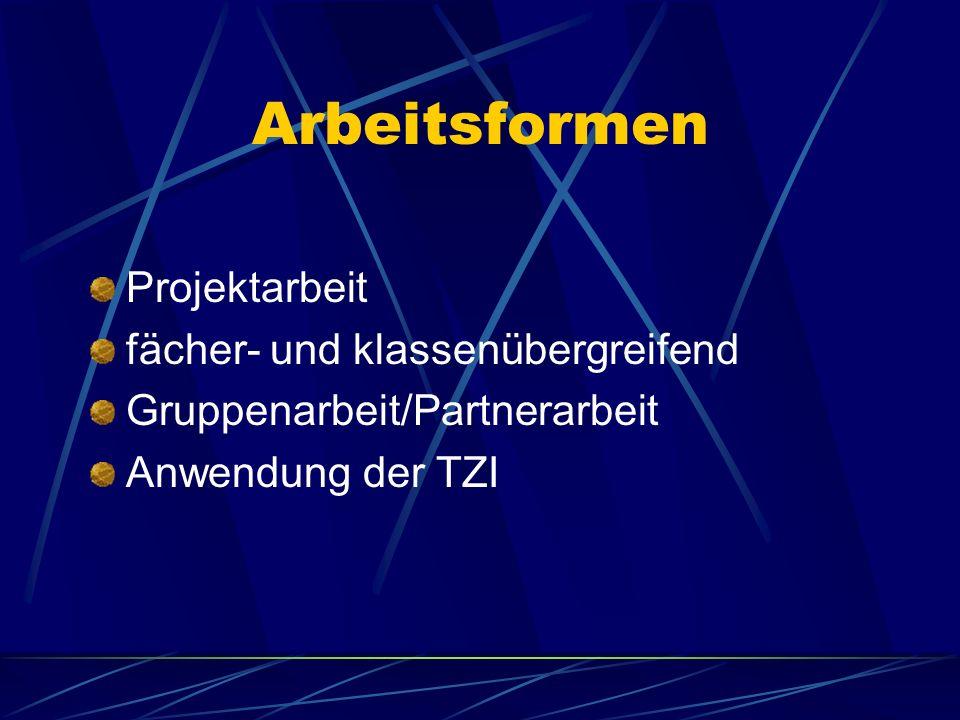 Arbeitsformen Projektarbeit fächer- und klassenübergreifend Gruppenarbeit/Partnerarbeit Anwendung der TZI