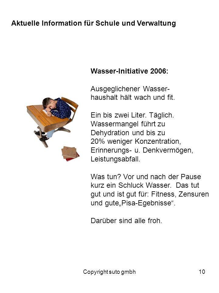 Copyright suto gmbh10 Wasser-Initiative 2006: Ausgeglichener Wasser- haushalt hält wach und fit. Ein bis zwei Liter. Täglich. Wassermangel führt zu De