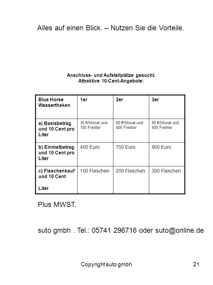 Copyright suto gmbh21 Blue Horse Wassertheken 1er2er3er a) Basisbetrag und 10 Cent pro Liter 30 /Monat und 150 Freiliter 60 /Monat und 400 Freiliter 9