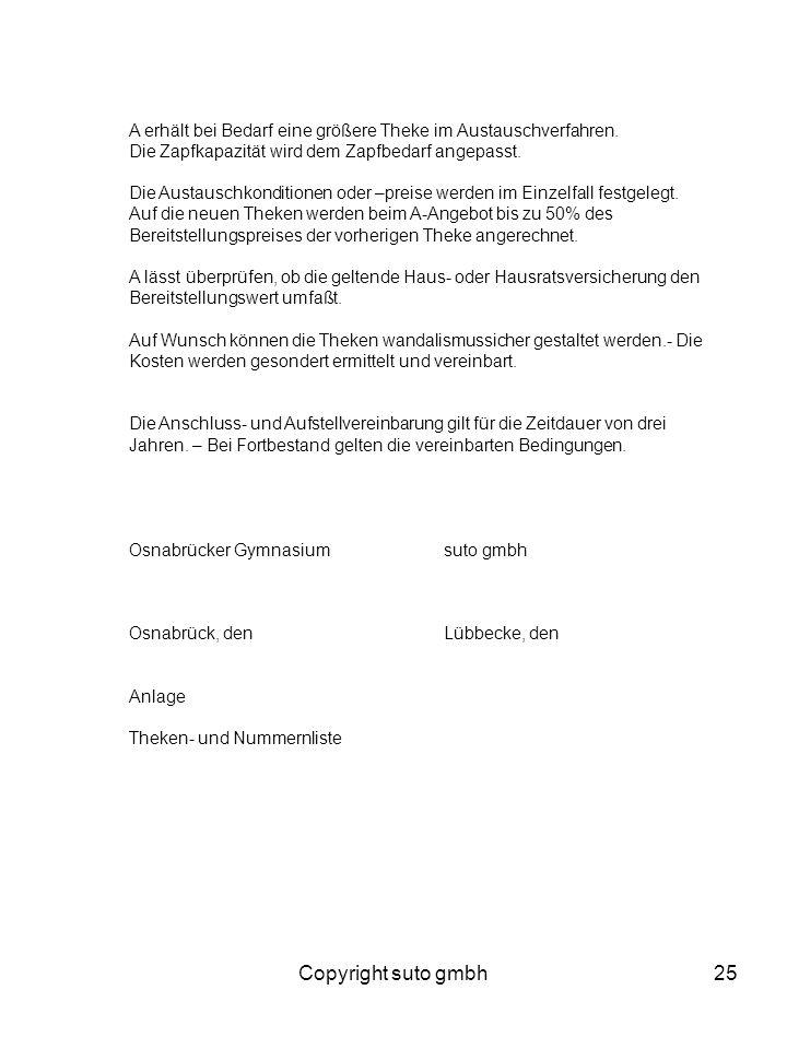 Copyright suto gmbh25 A erhält bei Bedarf eine größere Theke im Austauschverfahren. Die Zapfkapazität wird dem Zapfbedarf angepasst. Die Austauschkond