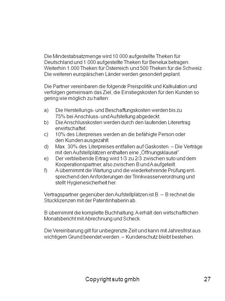 Copyright suto gmbh27 Die Mindestabsatzmenge wird 10.000 aufgestellte Theken für Deutschland und 1.000 aufgestellte Theken für Benelux betragen. Weite