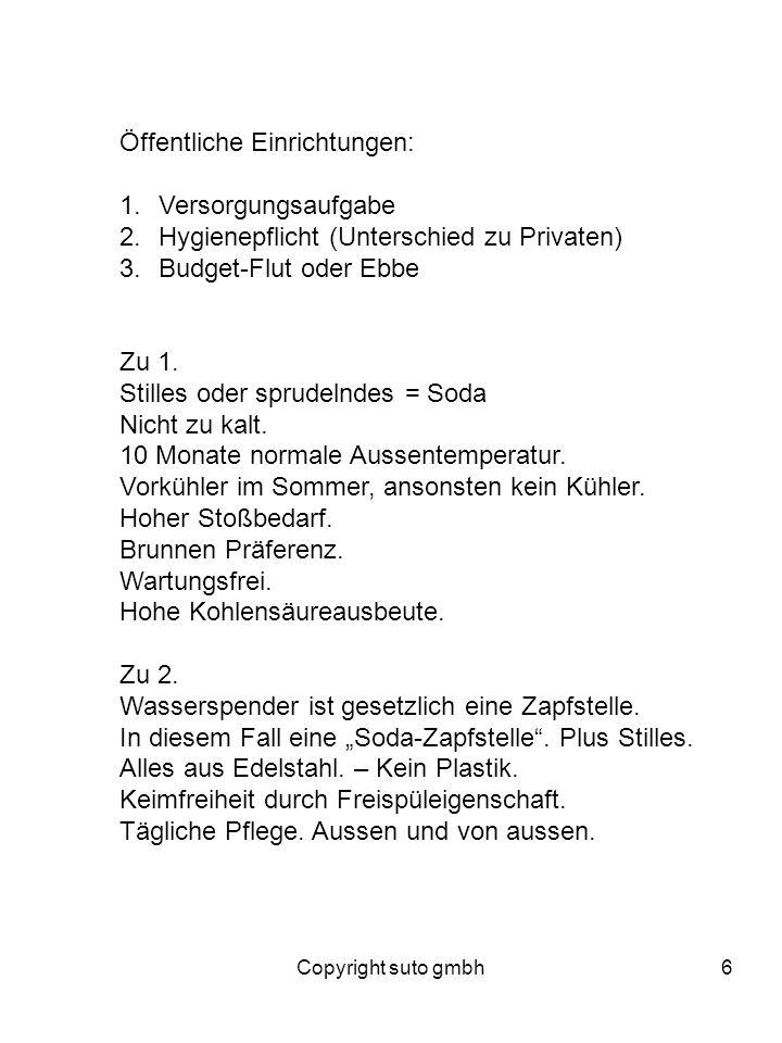 Copyright suto gmbh6 Öffentliche Einrichtungen: 1.Versorgungsaufgabe 2.Hygienepflicht (Unterschied zu Privaten) 3.Budget-Flut oder Ebbe Zu 1. Stilles