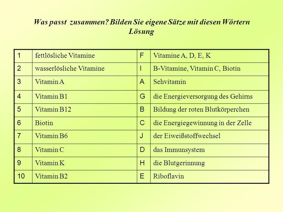 Was passt zusammen? Bilden Sie eigene Sätze mit diesen Wörtern Lösung 1 fettlösliche Vitamine F Vitamine A, D, E, K 2 wasserlösliche Vitamine I B-Vita