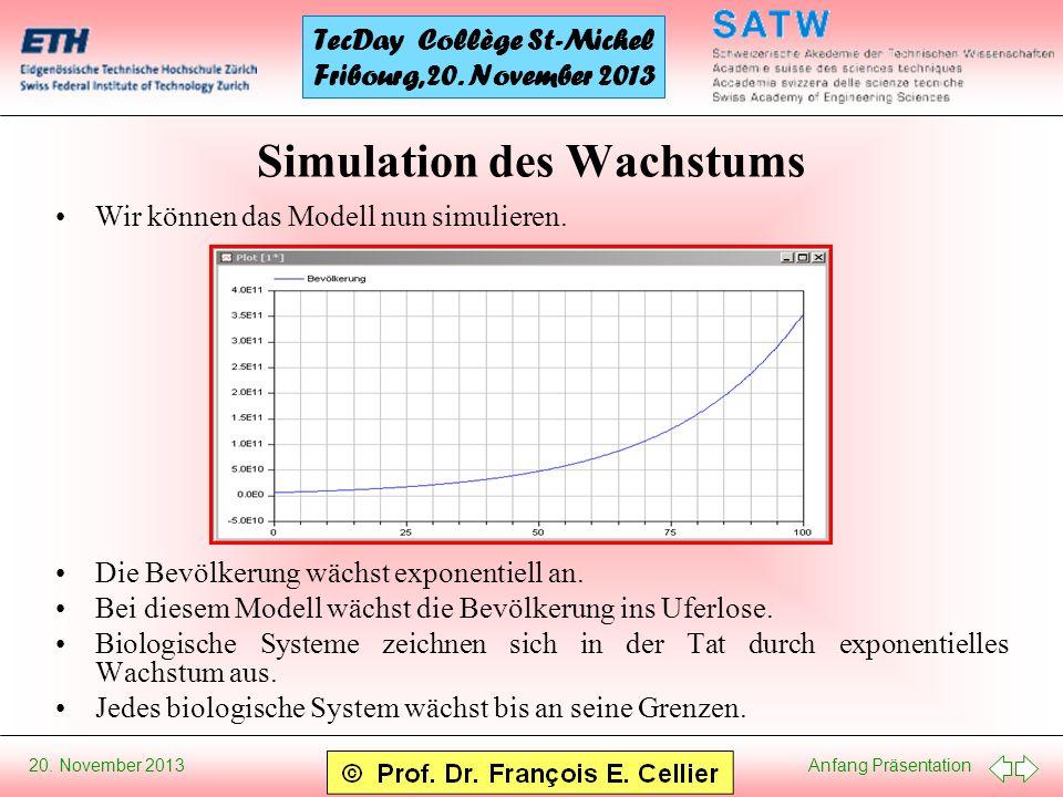 Anfang Präsentation 20.November 2013 TecDay Collège St-Michel Fribourg, 20.
