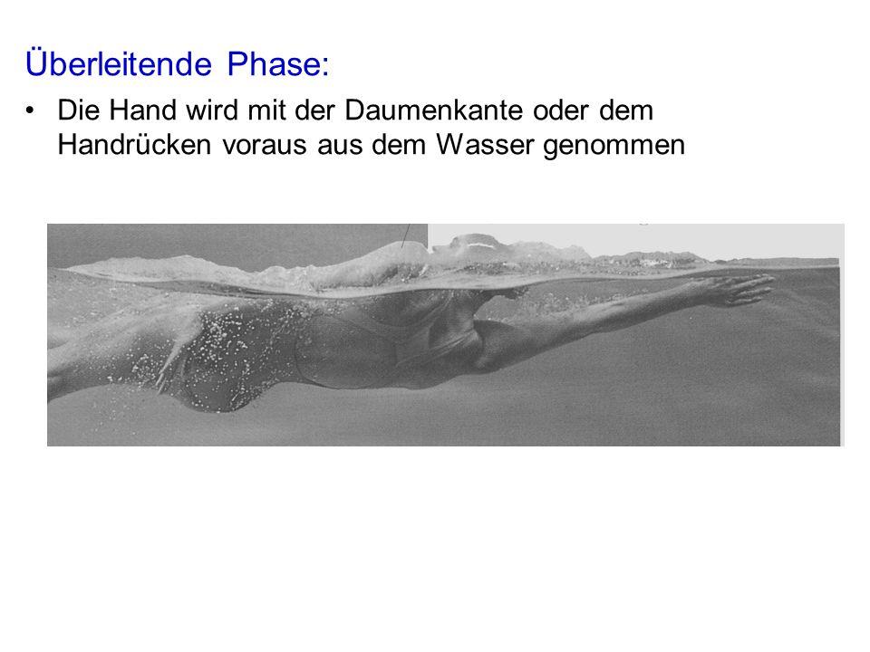 Überleitende Phase: Die Hand wird mit der Daumenkante oder dem Handrücken voraus aus dem Wasser genommen