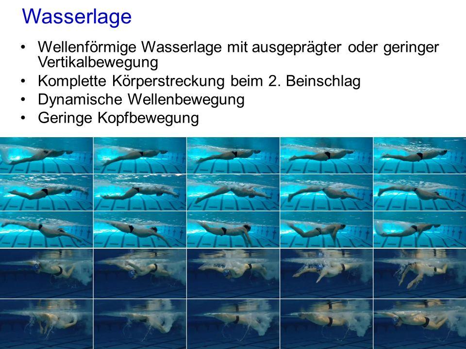 Wasserlage Wellenförmige Wasserlage mit ausgeprägter oder geringer Vertikalbewegung Komplette Körperstreckung beim 2. Beinschlag Dynamische Wellenbewe