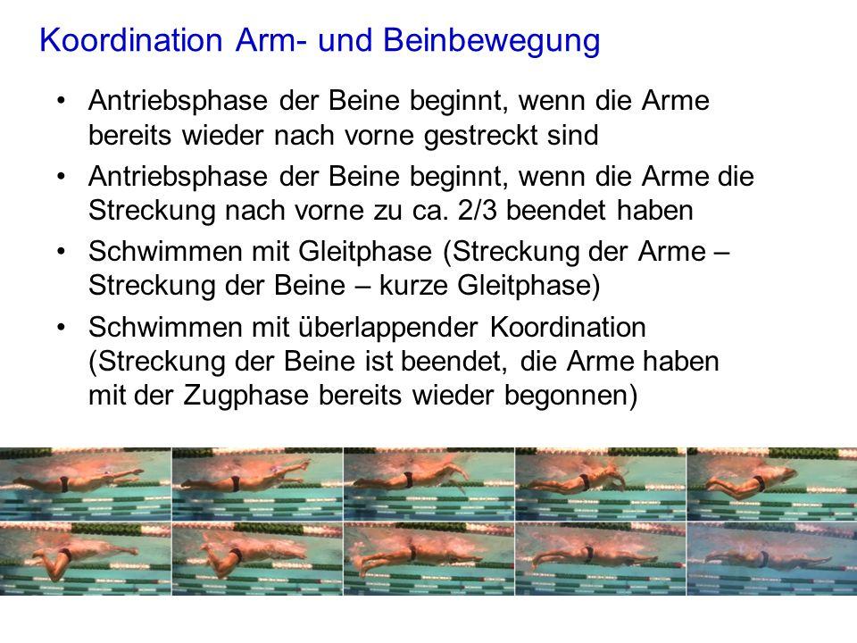 Koordination Arm- und Beinbewegung Antriebsphase der Beine beginnt, wenn die Arme bereits wieder nach vorne gestreckt sind Antriebsphase der Beine beg