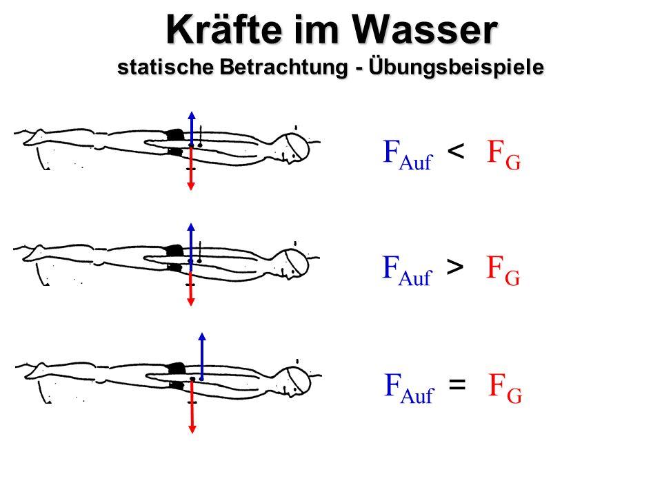 Kräfte im Wasser statische Betrachtung - Übungsbeispiele F Auf FGFG < FGFG > FGFG =