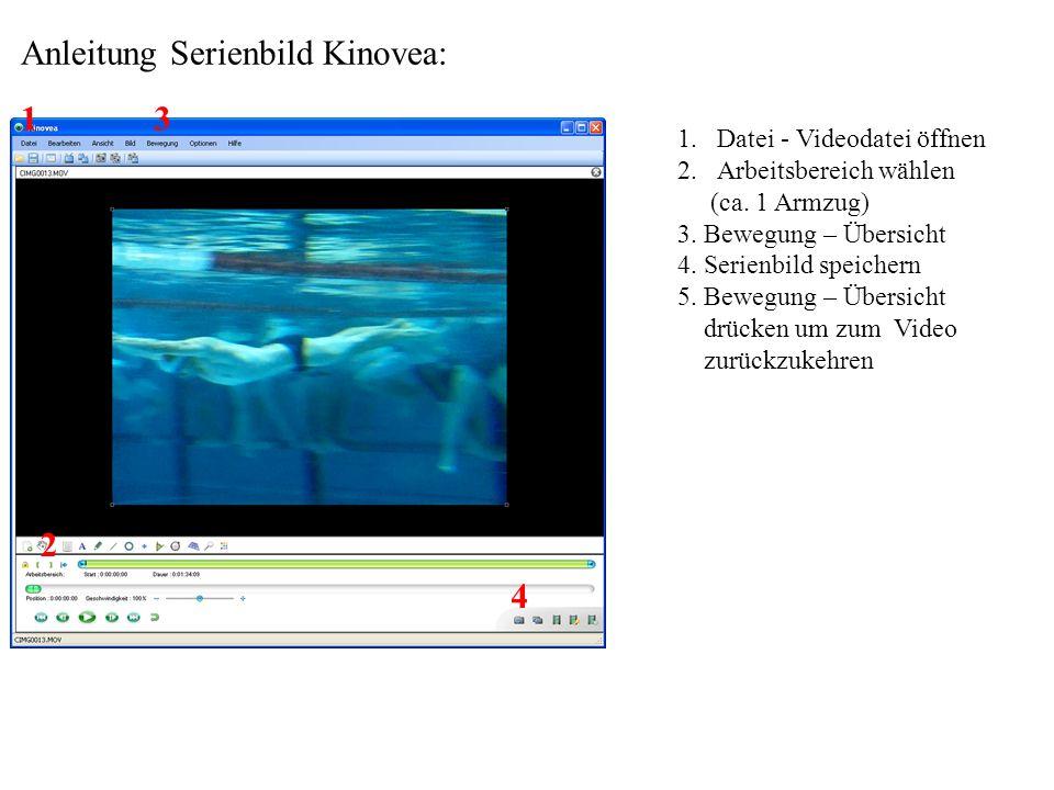 Anleitung Serienbild Kinovea: 1.Datei - Videodatei öffnen 2.Arbeitsbereich wählen (ca. 1 Armzug) 3. Bewegung – Übersicht 4. Serienbild speichern 5. Be