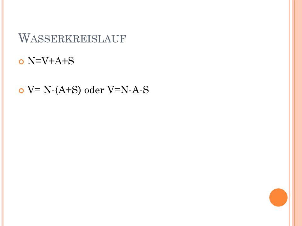 W ASSERKREISLAUF N=V+A+S V= N-(A+S) oder V=N-A-S