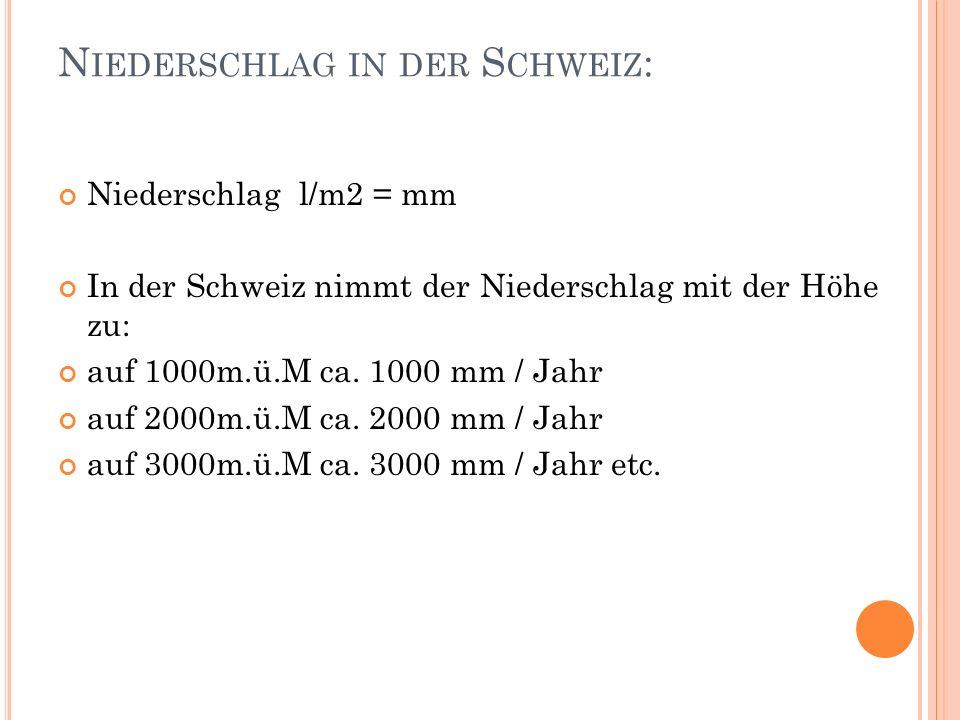 N IEDERSCHLAG IN DER S CHWEIZ : Niederschlag l/m2 = mm In der Schweiz nimmt der Niederschlag mit der Höhe zu: auf 1000m.ü.M ca. 1000 mm / Jahr auf 200