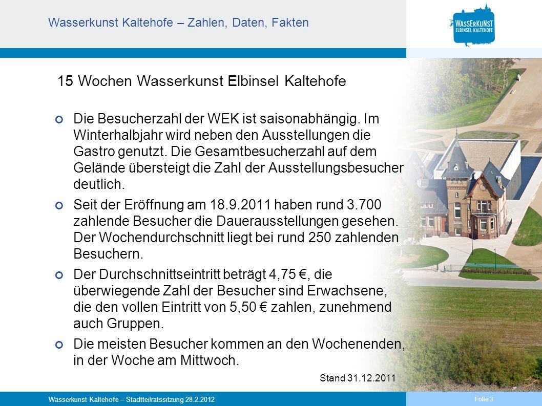 Folie 4 Wasserkunst Kaltehofe – Stadtteilratssitzung 28.2.2012 Wasserkunst Kaltehofe – Erfahrungen, Planung und Programm Erfahrungen Die Ausstellungen und das Gesamtkonzept werden fast ohne Ausnahme von den Besuchern gelobt.