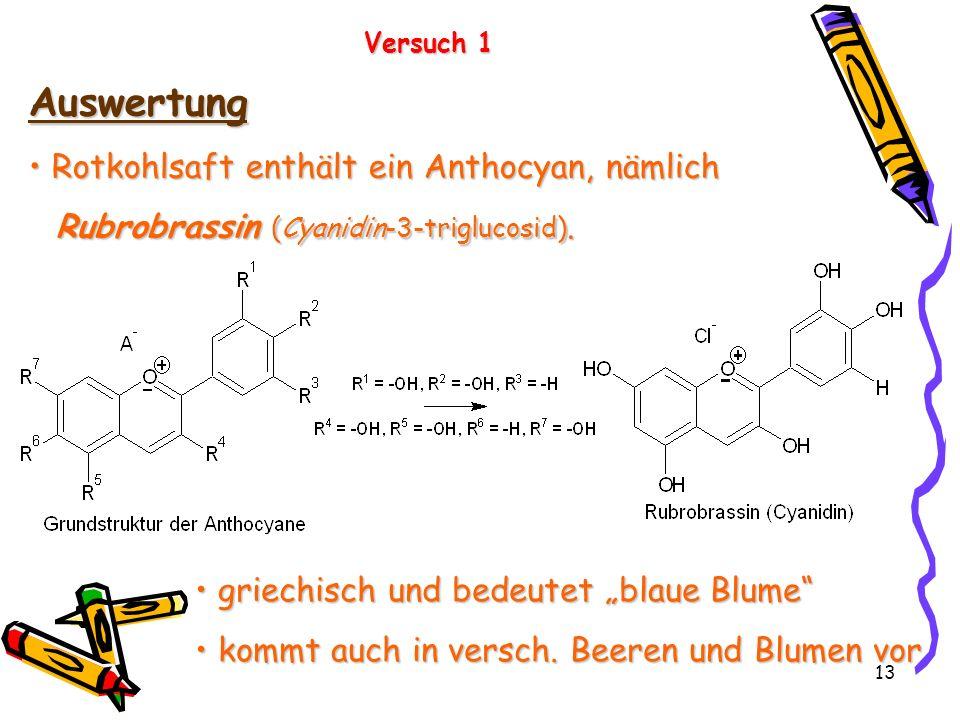 13 Versuch 1 Auswertung Rotkohlsaft enthält ein Anthocyan, nämlich Rotkohlsaft enthält ein Anthocyan, nämlich Rubrobrassin (Cyanidin-3-triglucosid). g