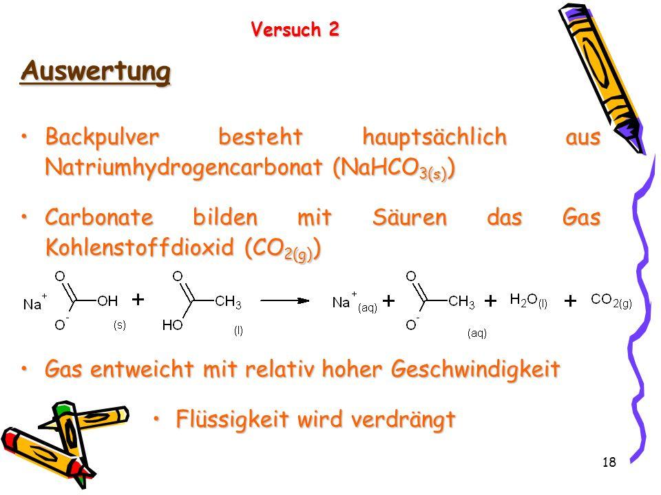 18 Versuch 2 Auswertung Backpulver besteht hauptsächlich aus Natriumhydrogencarbonat (NaHCO 3(s) )Backpulver besteht hauptsächlich aus Natriumhydrogen
