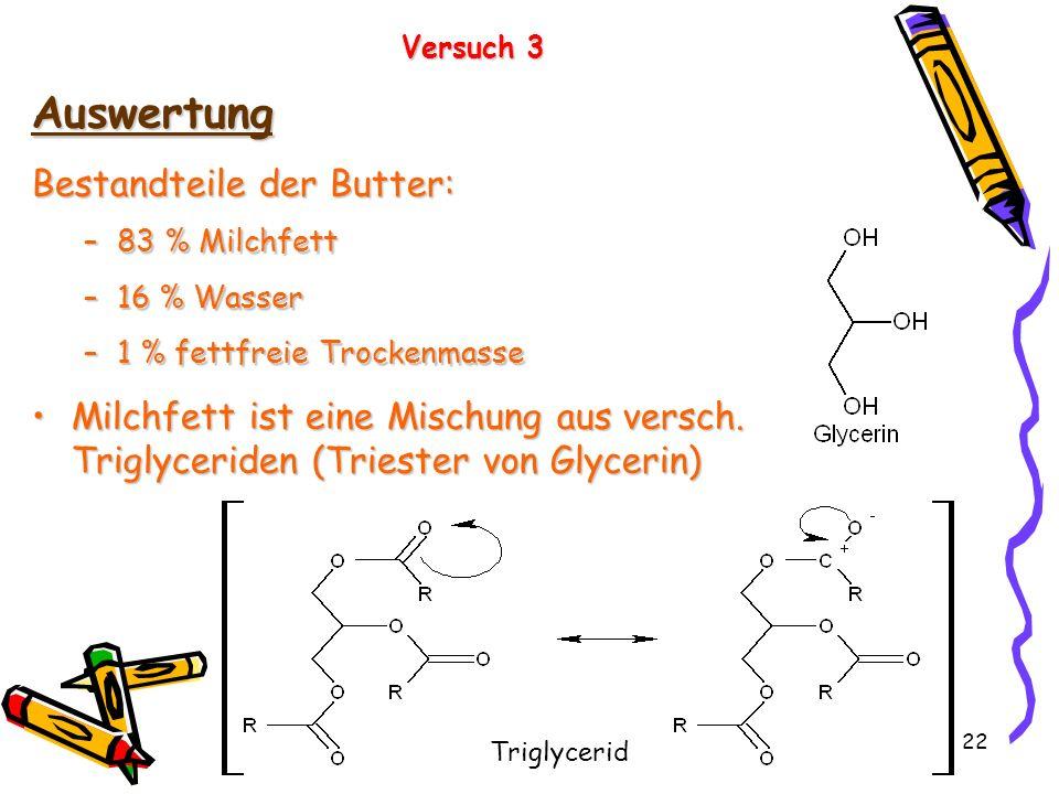 22 Versuch 3 Auswertung Bestandteile der Butter: –83 % Milchfett –16 % Wasser –1 % fettfreie Trockenmasse Milchfett ist eine Mischung aus versch. Trig