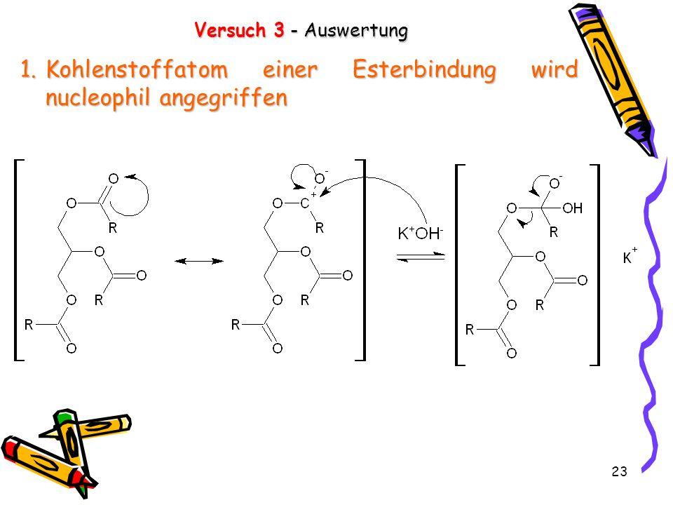 23 Versuch 3 - Auswertung 1.Kohlenstoffatom einer Esterbindung wird nucleophil angegriffen