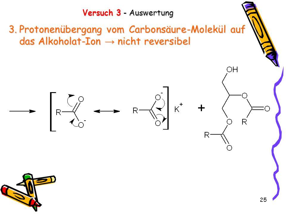 25 Versuch 3 - Auswertung 3.Protonenübergang vom Carbonsäure-Molekül auf das Alkoholat-Ion nicht reversibel