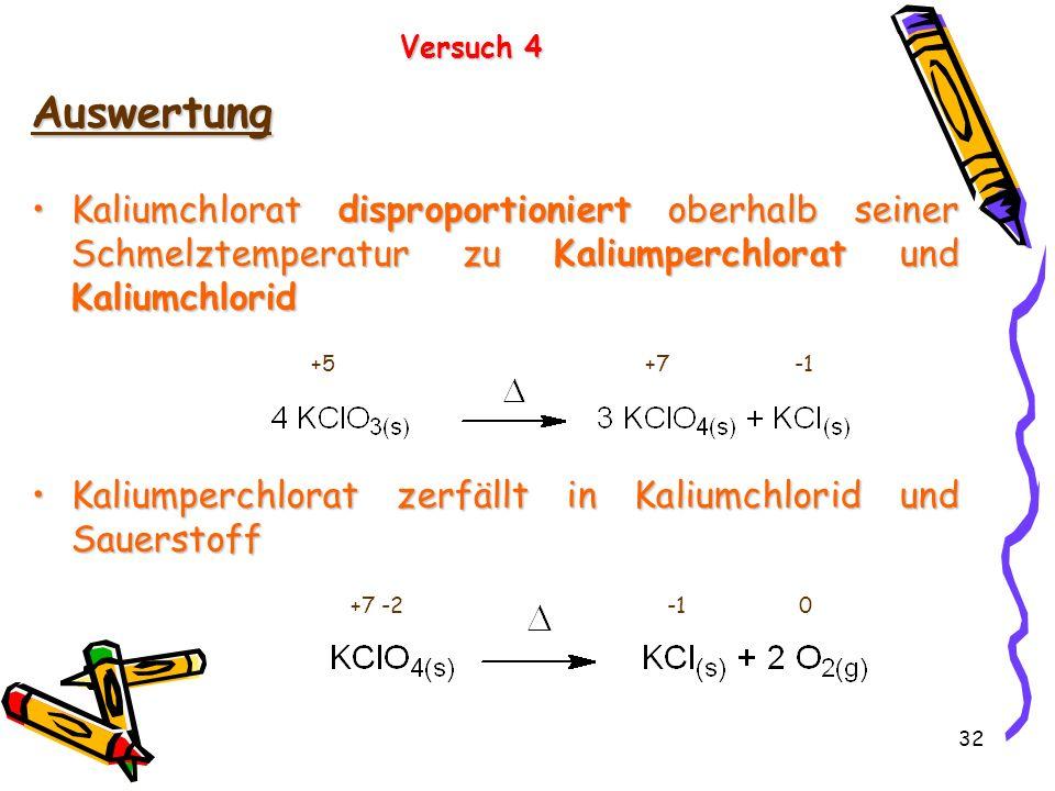 32 Auswertung Kaliumchlorat disproportioniert oberhalb seiner Schmelztemperatur zu Kaliumperchlorat und KaliumchloridKaliumchlorat disproportioniert o
